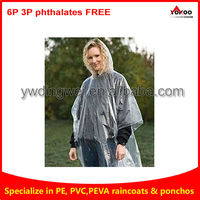 Disposable clear rain poncho