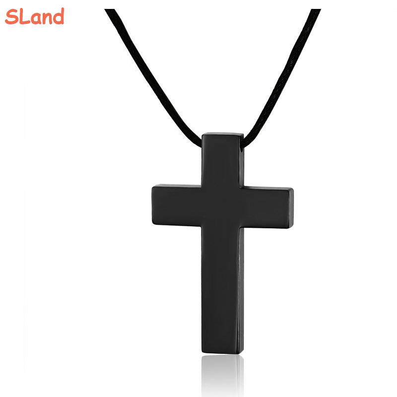SLand Jewelry Low MOQ wholesale 32mm*50mm Plain flat 316l Stainless Steel Black Plated Cross Pendant for leather rope necklace
