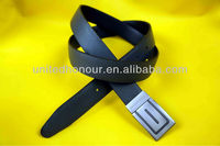 Mens leater belt with oval embossing on front & back