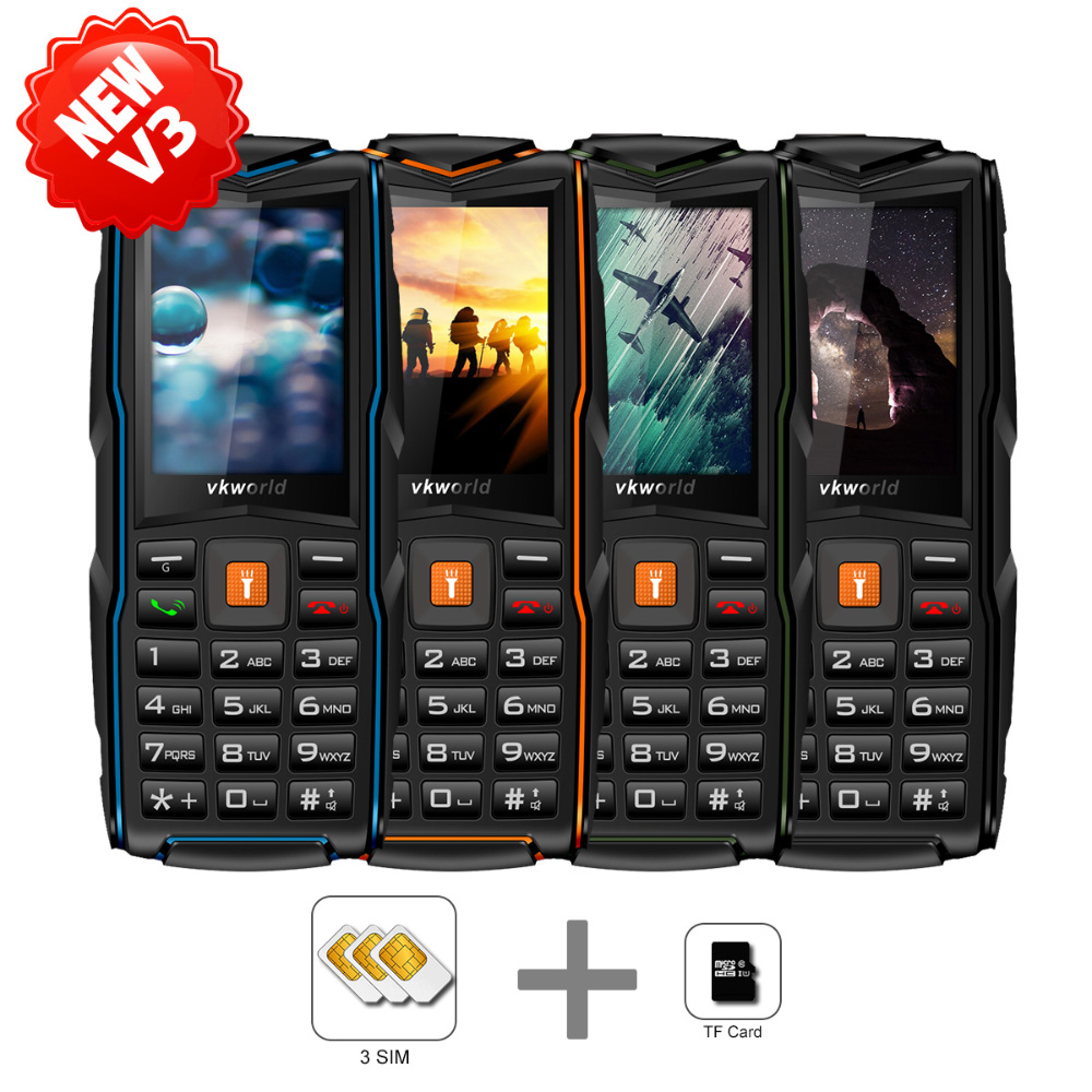 New Model VKWORLD New Stone V3 Waterproof IP68 Phone Android Cell Phone Qwerty 2.4'' Keyboard Mobile Phone
