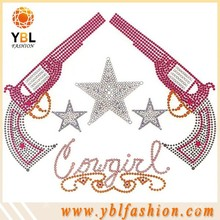 cowgirl gun design rhinestone iron on transfer for popular t shirt