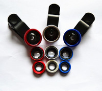 Colorful Universal 3 in 1 Fish eye Wide Angle Macro Camera Clip Lens Kit for Mobile Phone