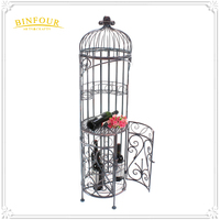Antique wrought iron birdcage shape display rack metal wine rack