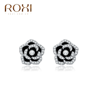 ROXI fashion jewelry Platinum Rose Flower Stud Earrings wholesale