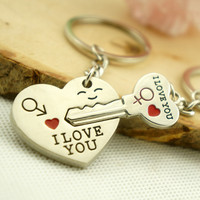 >>>New Couple I LOVE YOU Heart Keychain Ring Keyring Key Chain Lover Romantic Creative Birthday Gift New chaveiro