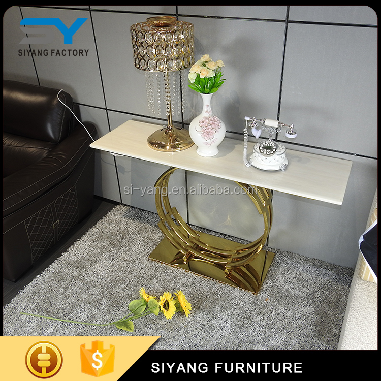 Home furniture stainless steel gold sofa tray table acrylic glass console table XG005