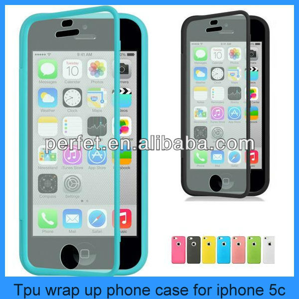 Candy TPU Wrap Up Phone Case Cover with Built In Screen Protector,tpu case for iphone 5c(PT-I5C202)