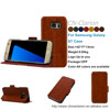 Manufacturer Wholesale Luxury PU Leather Cover Case For Samsung Galaxy S7 Smartphone Case, Red Brown