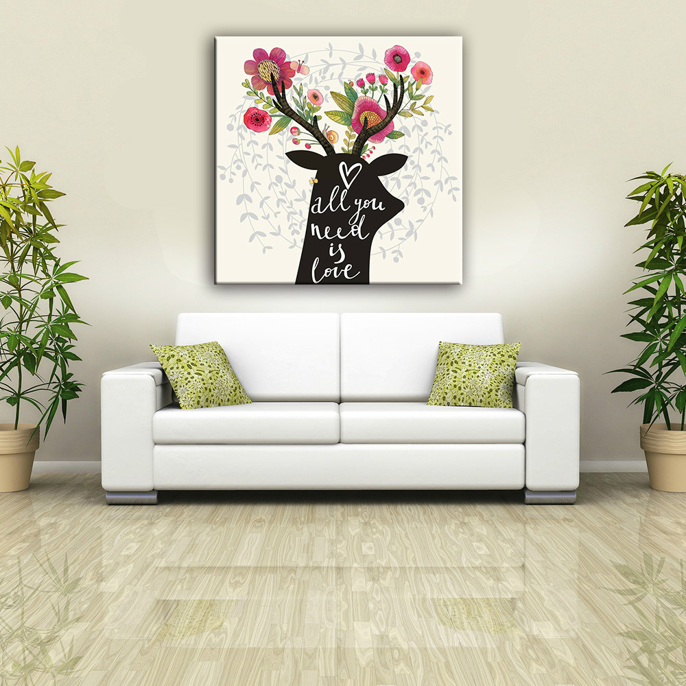 Wood frame black animal and flower canvas painting with glass coating