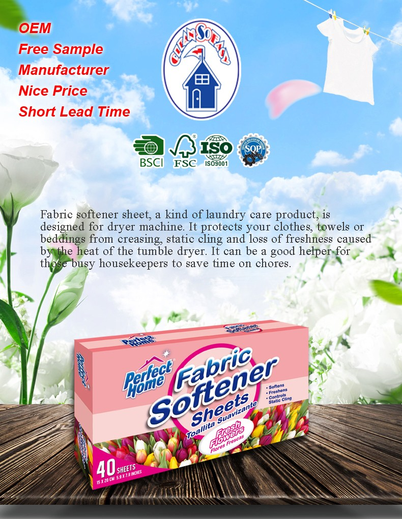 lavander scent nonwoven cloth care product multi functions dryer sheets