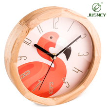 Modern Lovely Children Wood Frame Round Glass Dustproof Cartoon Wall Clock Digital Home Decorative Kids Room Clock With Stand