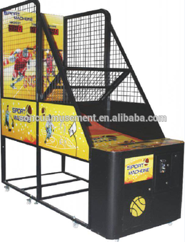 Indoor coin operated street basketball arcade game machine