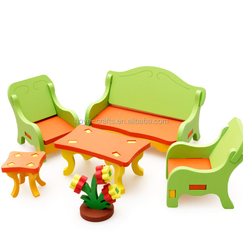 Wooden Living Room Set Mininature Dollhouse Furniture Toy for Kids Children