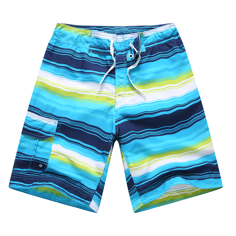 High visible blue men's printing beach shorts with belt