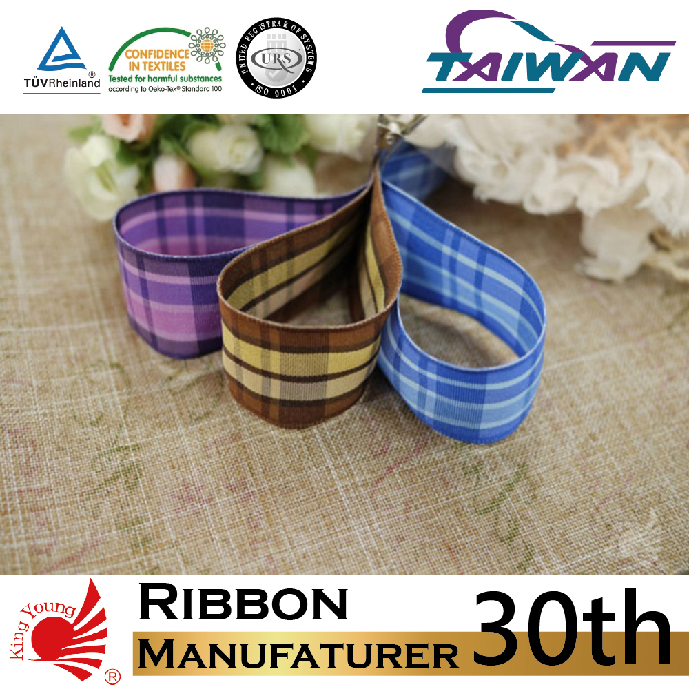 Purple Tartan Plaid Ribbon/ Wired Ribon/ Woven Ribbon
