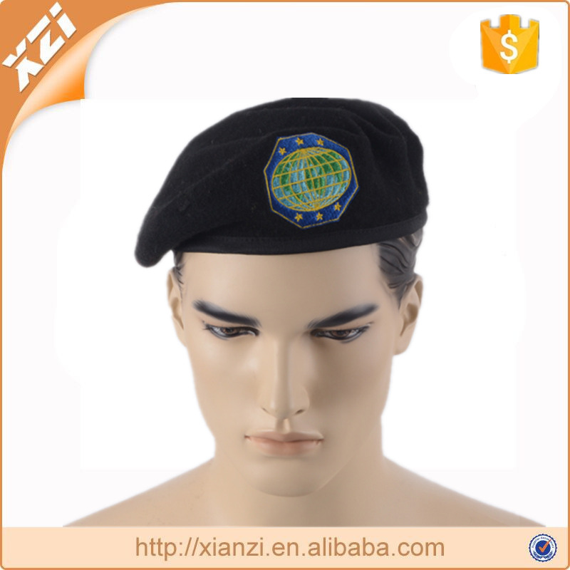 Handmade wool beret embroidered military beret hat