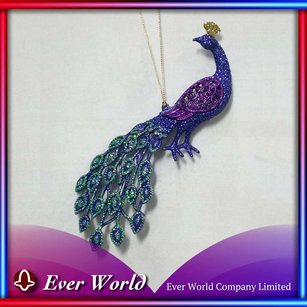 Christmas Peacock Blue/Purple Glitter Plastic Peacock Ornament
