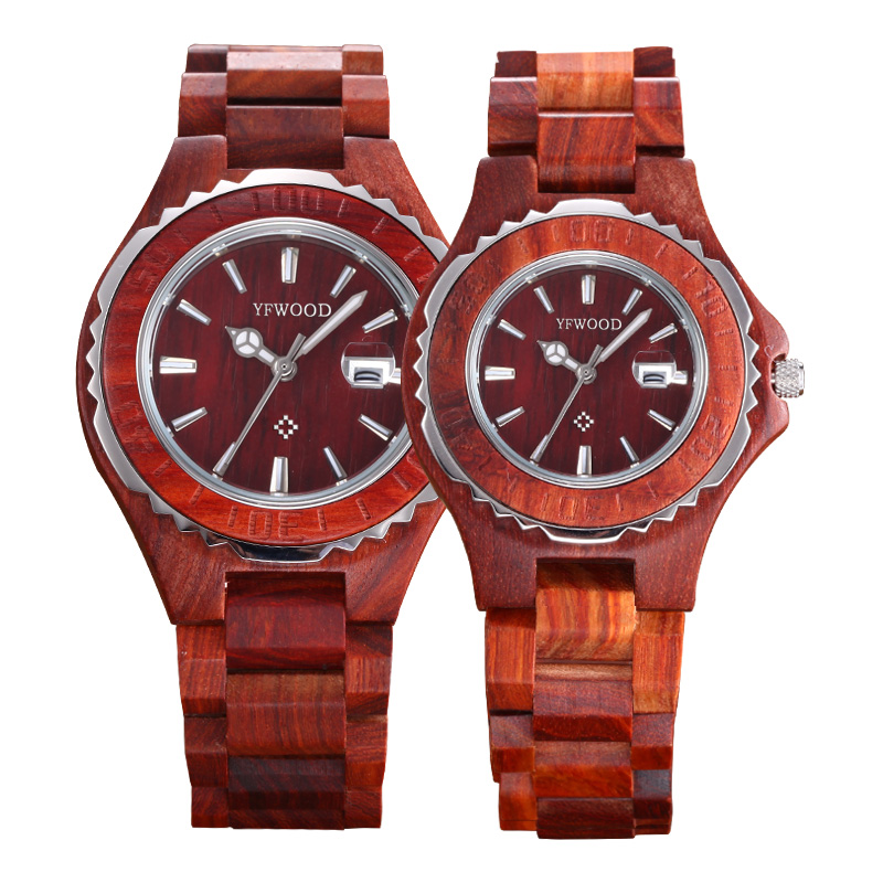 2017 promotional gift rosewood couple wrist watches