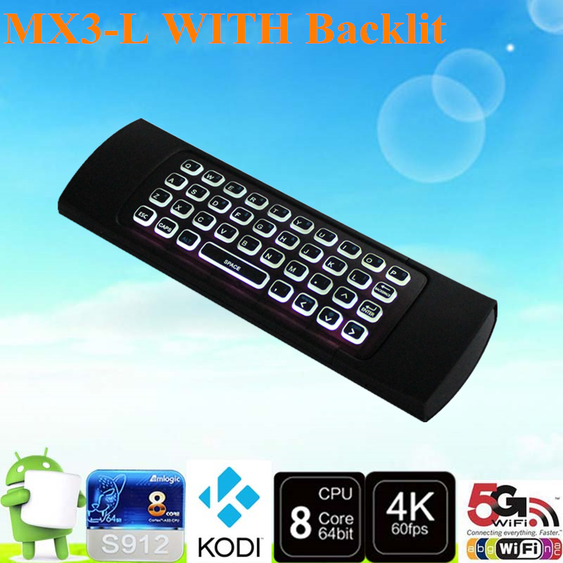 2017 Dragonworth MX3-L 2.4g Air Mouse Backlit air mouse keyboard android 6.0 Somatosensory remote control