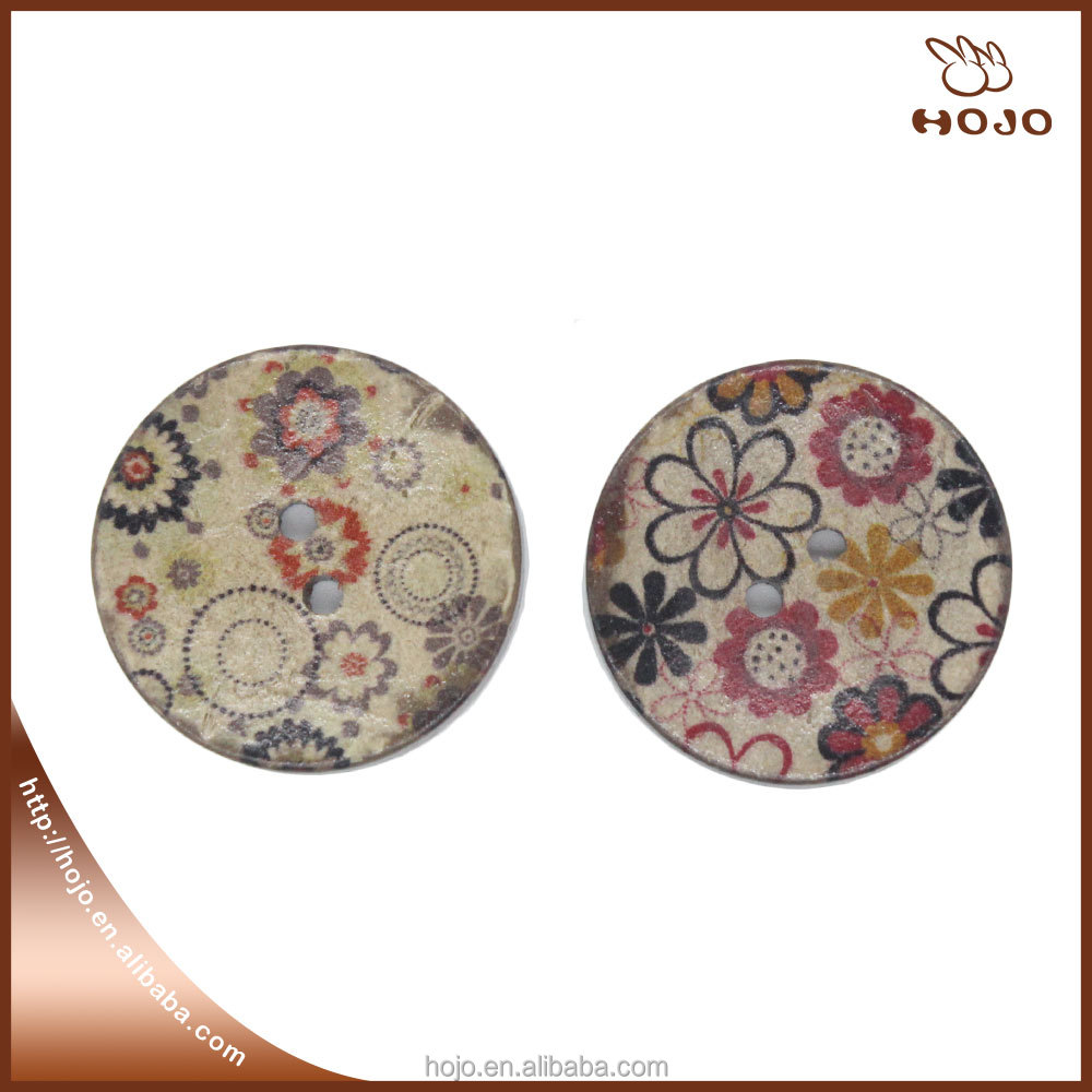 Coconut shell button 2.5cm autumn flowers for clothes