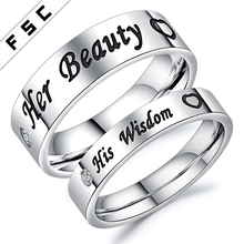 Fashion New Men's Cheap Simple Zircon Stainless Steel Couple Wedding Rings