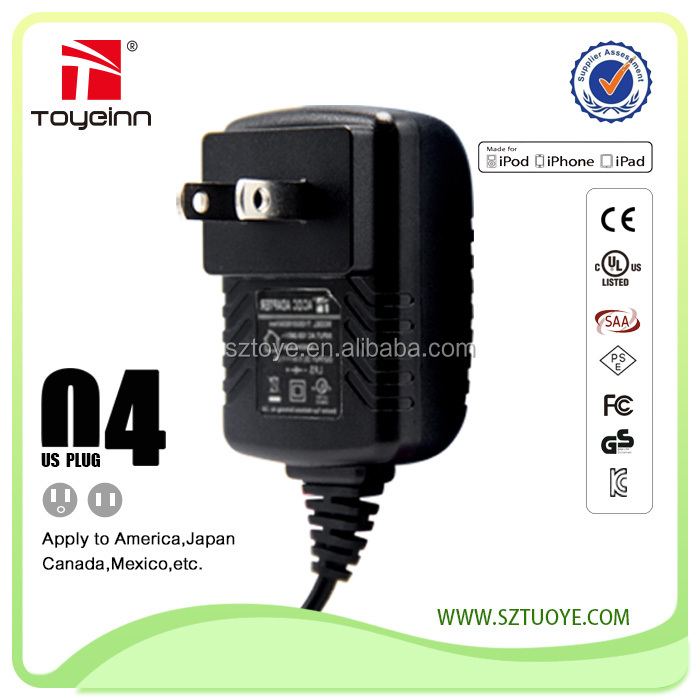 5W/12W US Wall mount power adaptor with CE,KC,UL,FCC,SSAA,CCC,PSE certifications