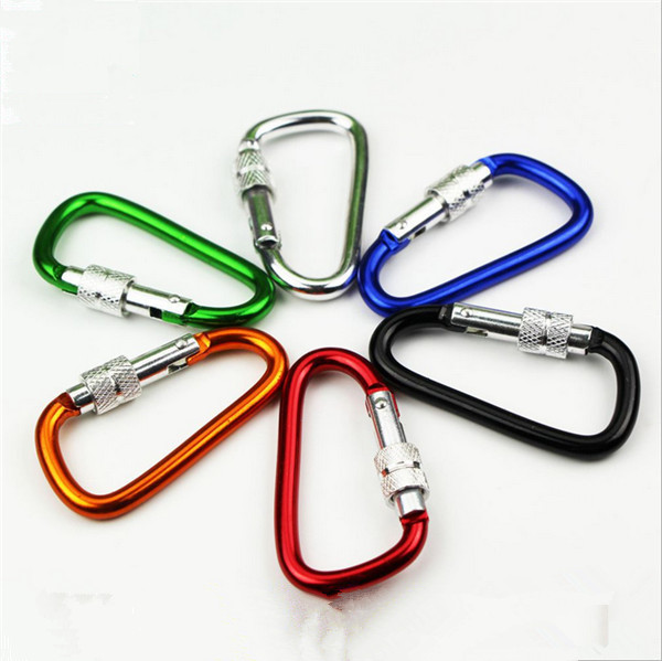 6cm Outdoor Sports Travel Kits Aluminium Alloy Safety Buckle Keychain Climbing Button Carabiner Camping Hiking <strong>Hook</strong>