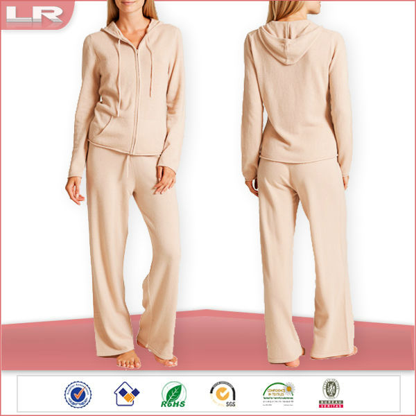 Zip-up Women Winter Knit Cashmere Hoodie Pajama