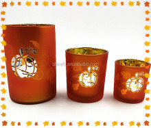 hot selling cheap glass hurricane candle holder for Halloween design