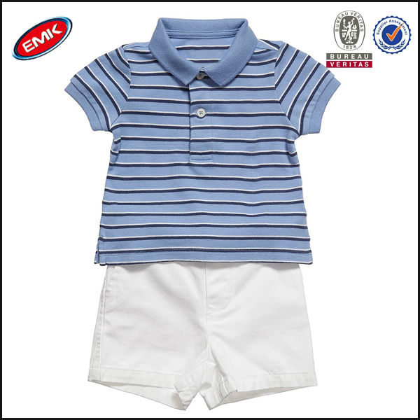 modern style kids boy summer clothes set, polo shirt and shorts