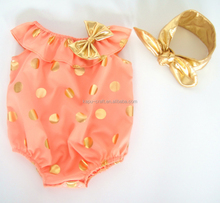 Hottest fashion baby sequin gold dot rompers, beach rompers, baby romper carters