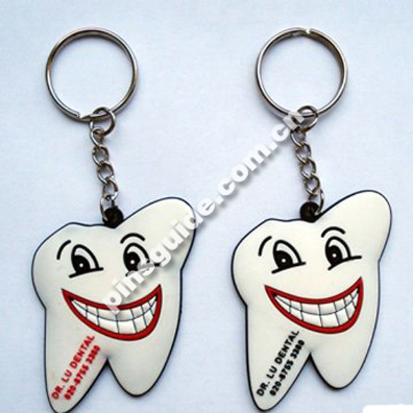 Supplier Good Quality White Teeth Shape 3D PVC Key Rings With Business Logos
