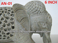 Hand Cut White Elephant Sculpture White marble Stone Elephant