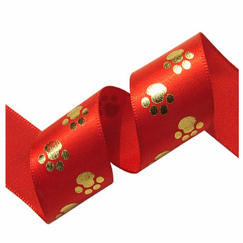 Fujian custom logo lovely gold printed animal paw ribbon