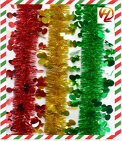 Hot Sales High Quality red/green/yellow Tinsel Garland for party/christmas decoration
