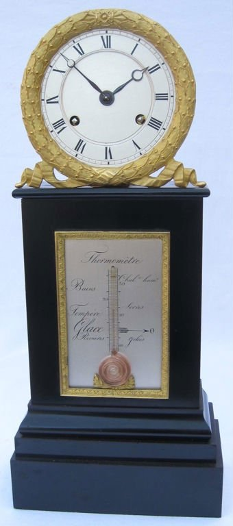 Authentique antique French table clock with thermometer