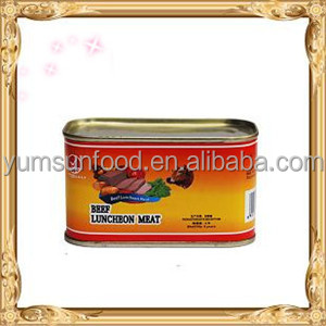 Canned luncheon beef meat