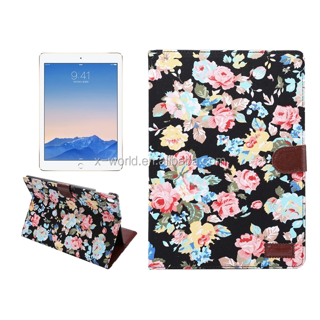 Shenzhen leather Manufacture flower cloth leather tablet case for ipad pro 9.7
