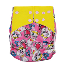 The baby cloth diapers square stitching ear double row button printing white cat pattarn leak proof diapers insert