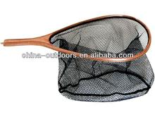 fishing landing net with wood frame