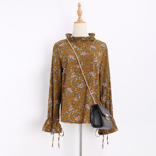 ZH2412C chiffon retro printed korean elegant new style ladies office uniform blouses