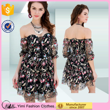 Embroidered elegant european style apparel adult women chiffon dress made in China women clothing