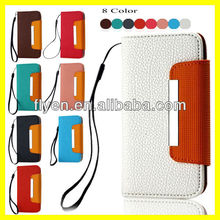 "Hot Selling Wallet Case for Apple iPhone 5"" Leather Case Card Holder Lanyard Magnetic Metal Wholesale Plain Color Luxury Handbag"