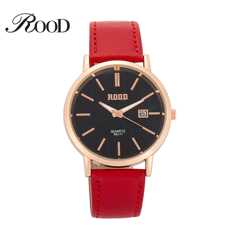 2016 original design ROOD brand rose gold black women dress watch high quality simple leather strap quartz wrist watch ladies