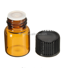 Amazing price 5/8 dram 2ml Amber brown Glass Sample Vial Essential Oil Empty Bottle With Orifice Reducer Cap For Perfume