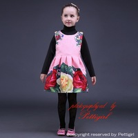 2016 New Arrival Wholesale Floral Girl Dress Print Flower Baby Dress Nice Quality Girls Vestido For Holiday Kids Wear GD80928-24