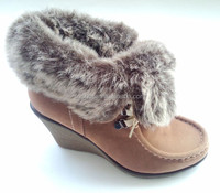 2014 Latest lady shoe fashion high heel winter fur boots