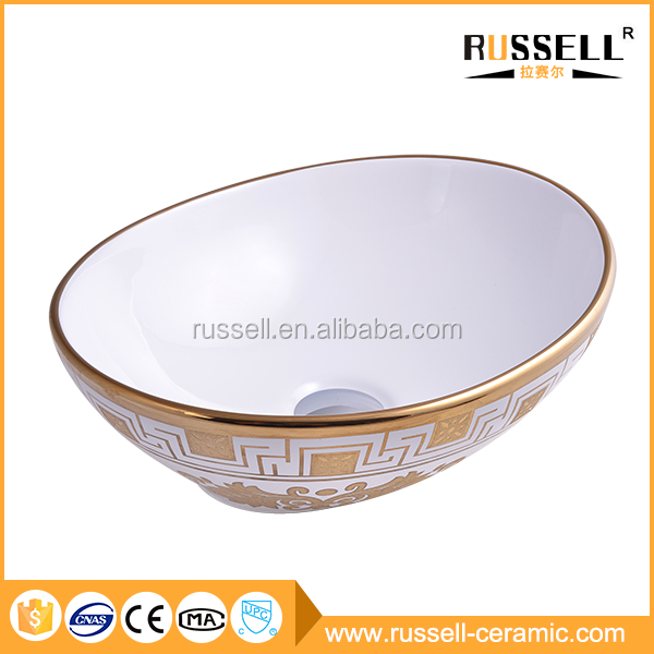 Top selling bathroom luxury gold color painted basin ceramic