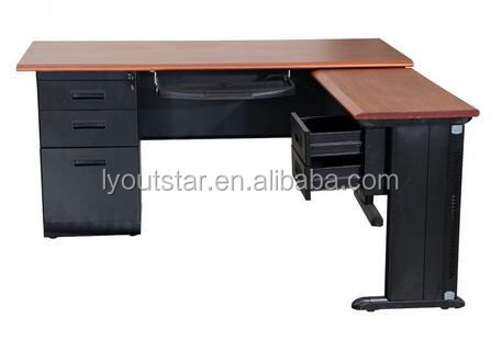 wooden top metal frame Office computer table