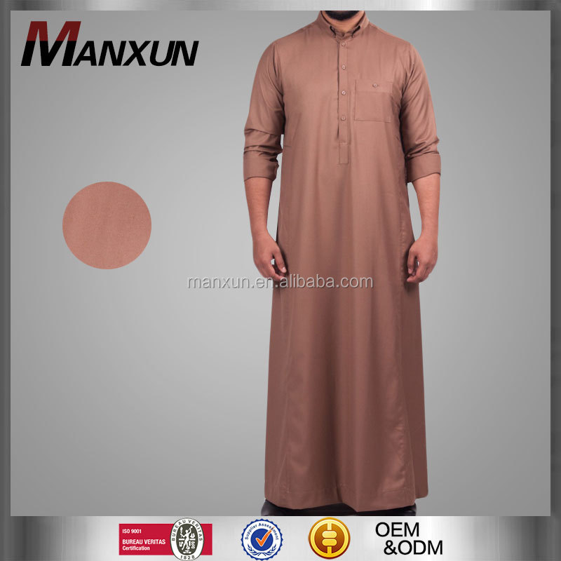 Latest Islamic Clothing Men Thobe/Thawl Islamic Clothing Jubah Muslimah Abaya Designs Brown Colors Men Saudi Arabian Thobe